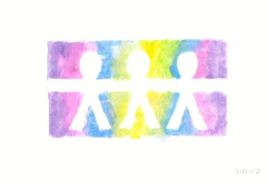 Watercolor graphic of three children holding hands