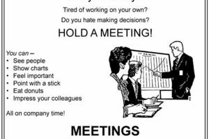Graphic with jokes about holding meetings