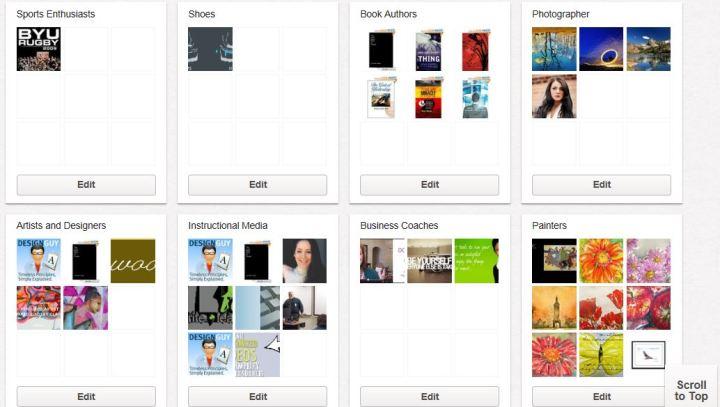 Screenshot of Pinterest boards