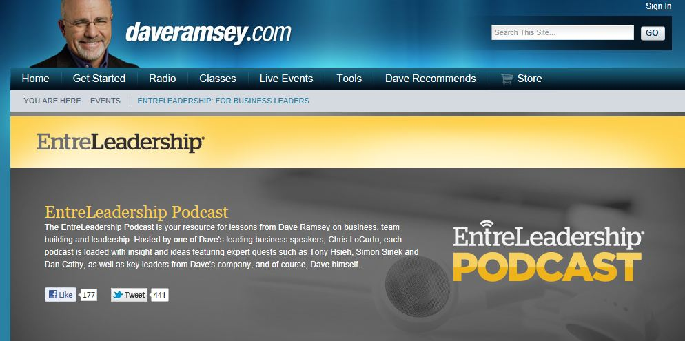 Screenshot of the Entreleadership website