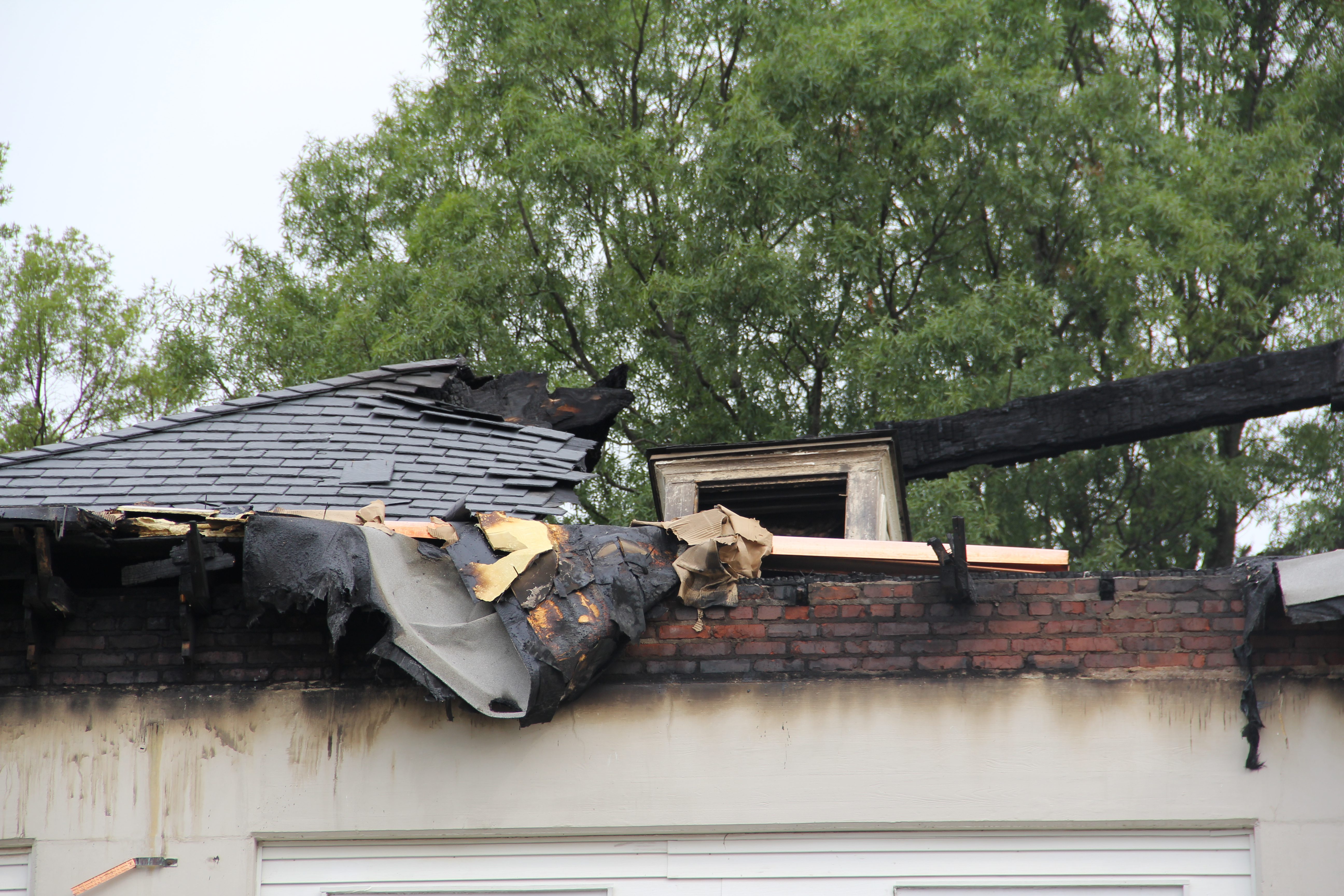 Photo of a burned rooftop