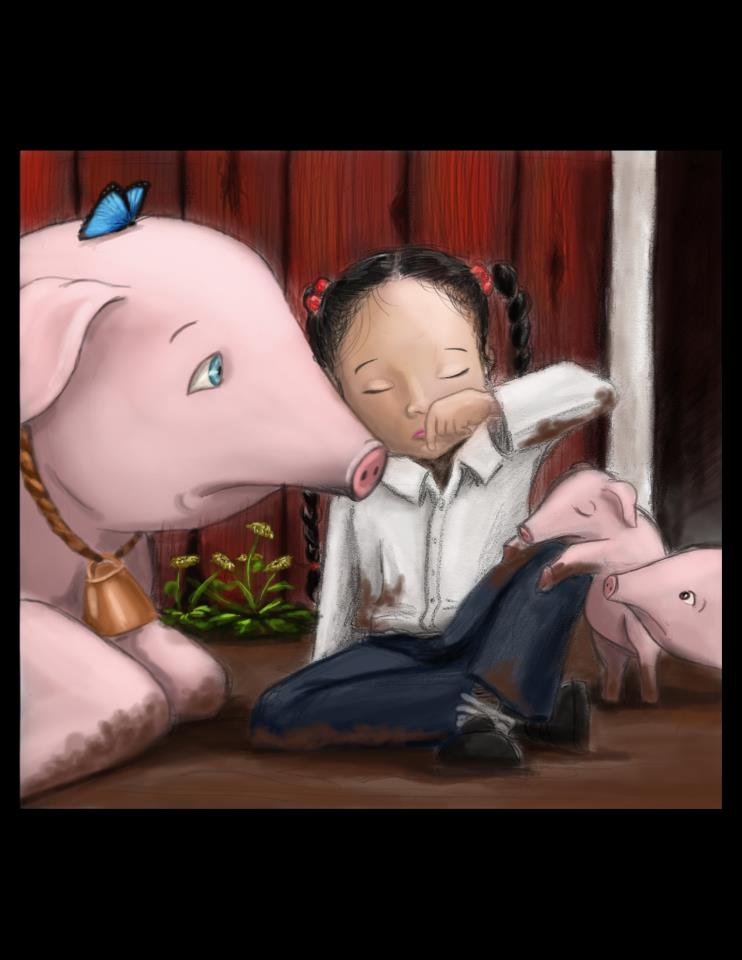 Girl crying with pig