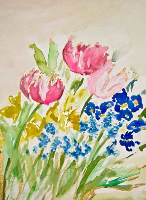 Watercolor flowers by Natalie