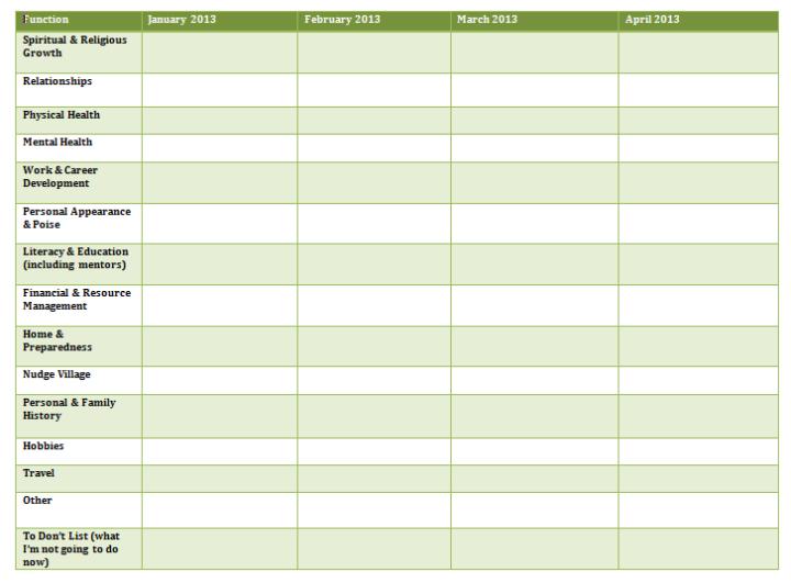 Screenshot of a six month goal categories