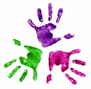 hand imprints in paint